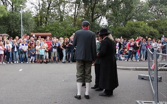 A shot of the skit in Prague, which celebrating Czech nationhood, looked to be mocking an Orthodox Jew