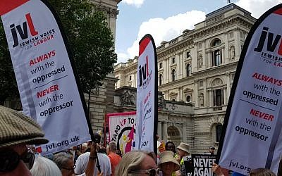 Jewish Voice for Labour banners at the Enough is Enough counter-demonstration