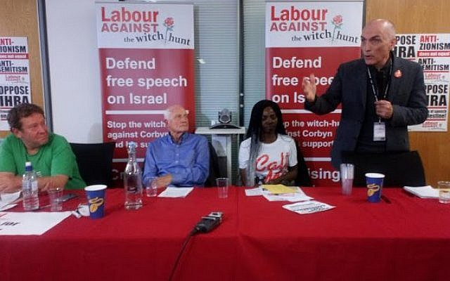 Chris Williamson (standing on the right) shared a platform with Tony Greenstein (far-left)