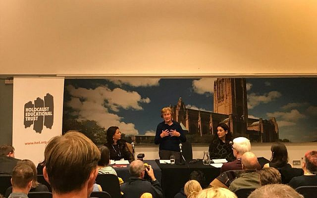 Susan Pollack addressing the HET fringe event at Labour conference, flanked by chief Executive Karen Pollock and MP Luciana Berger
