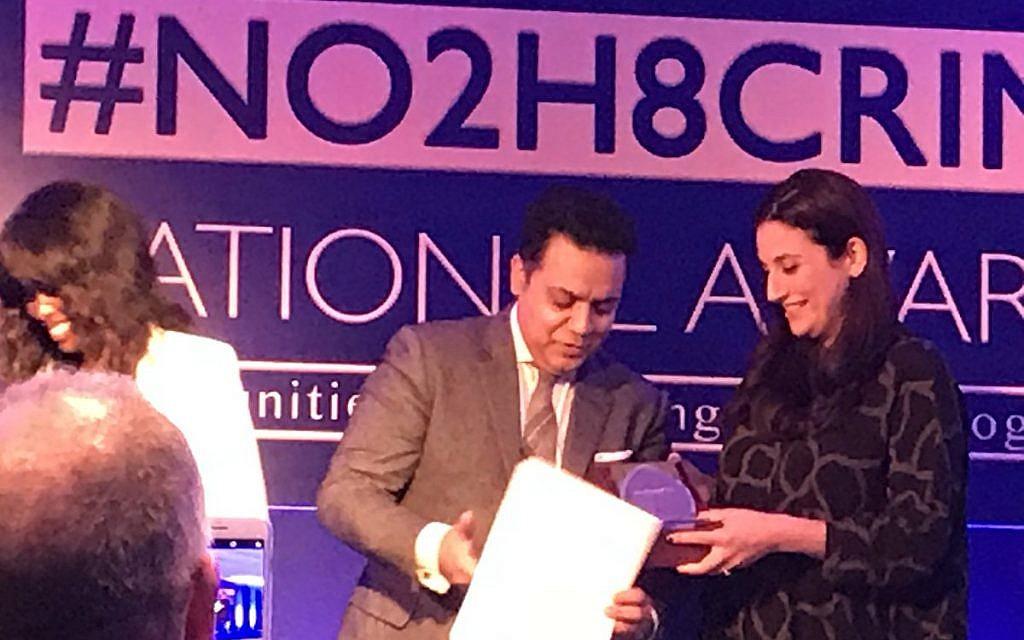 Luciana Berger receiving her award at last night's No2H8 awards. Alongside June Sarpong and