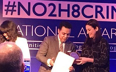 Luciana Berger receiving her award at last night's No2H8 awards. Alongside June Sarpong and