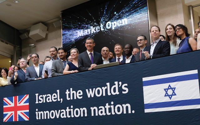 Israeli envoy Mark Regev and former Science Minister Sam Gyimah MP at the opening of the London Stock Exchange in July 2018