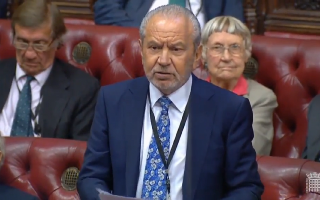 Lord Sugar speaking in the Lords