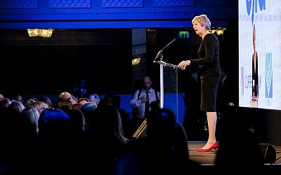 Theresa May speaking at UJIA's annual dinner