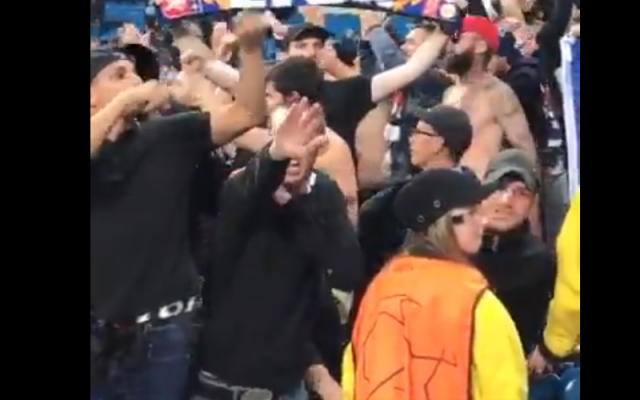 Screenshot from video on twitter shows the Lyon fan making the Nazi salute