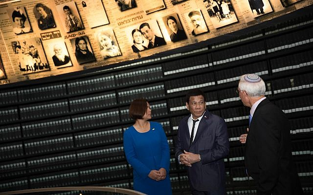 Philippine President Rodrigo Duterte and his daughter Sarah looks up and around at the 'Hall of Names' in the Yad Vashem Holocaust memorial museum in Jerusalem, 03 September 2018.  Photo by: JINIPIX