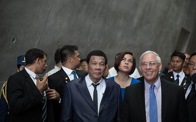 Philippine President Rodrigo Duterte and his daughter Sarah  at the Yad Vashem Holocaust memorial museum in Jerusalem, 03 September 2018. Photo by: JINIPIX