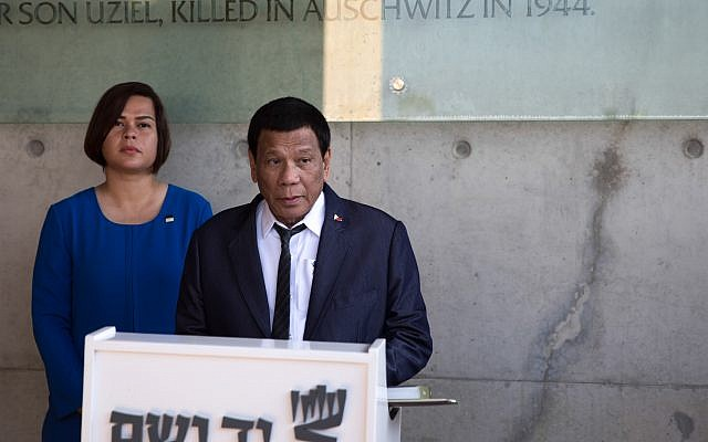 Philippine President Rodrigo Duterte and his daughter Sarah at the signing of the guest book at the Yad Vashem Holocaust memorial museum in Jerusalem, 03 September 2018. Photo by: JINIPIX