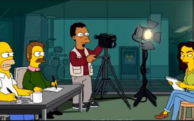 Gal Gadot being interviewed by Homer Simpson and Ned Flanders