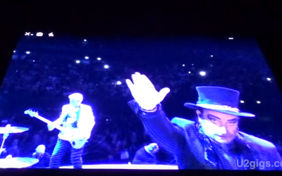 Screenshot from a video showing the U2 frontman doing a Nazi salute
