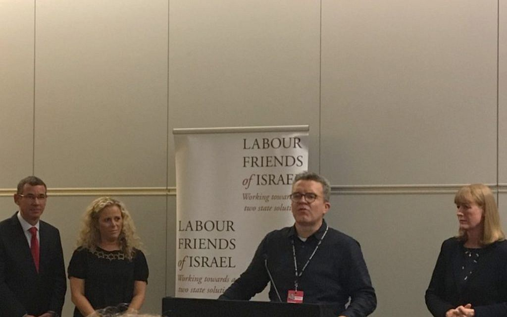 Tom Watson addressing LFI, alonside Israeli MK Ayelet Nahmias-Verbin, Joan Ryan MP and Ambassador Mark Regev