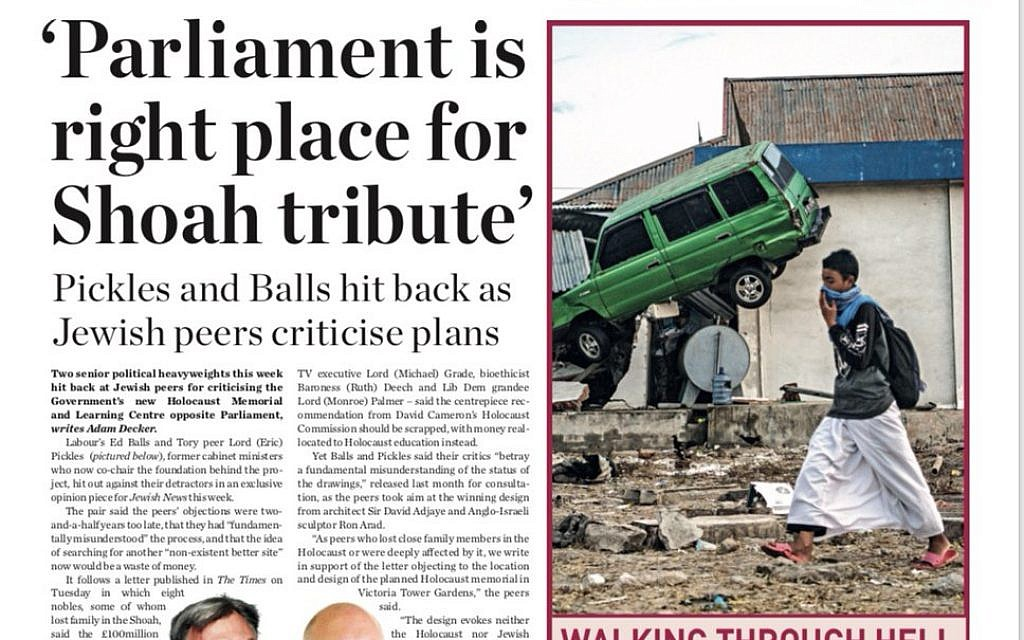 Jewish News' front page covering the row over the Holocaust memorial