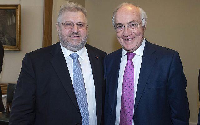 Rabbi Barry Marcus with Lord Michael Howard  credit: Graham Chweidan