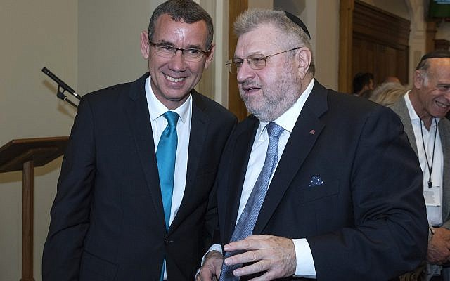 Rabbi Barry Marcus with Israeli Ambassador to the UK Mark Regev  credit: Graham Chweidan