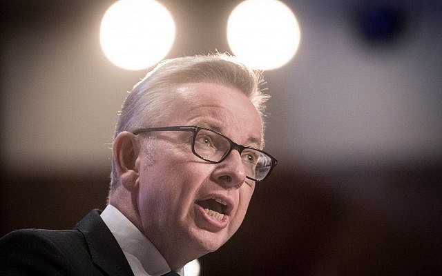 Michael Gove speaking at the Conservative Party annual conference . Photo credit: Stefan Rousseau/PA Wire