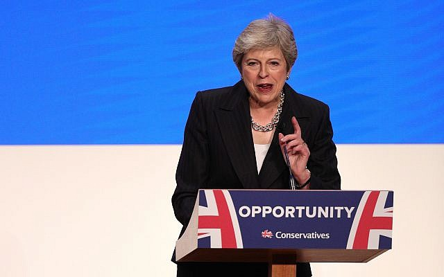 Prime Minister Theresa May makes her speech at the Conservative Party annual conference. Photo credit: Aaron Chown/PA Wire