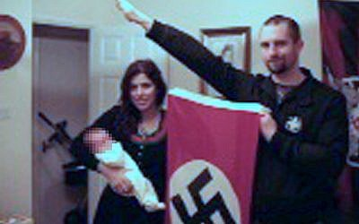 Picture from West Midlands Police shown to jurors at Birmingham Crown Court, showing Darren Fletcher who has admitted being a member of banned far-right terrorist group National Action, posing with alleged member Claudia Patatas and her baby, at her home in Waltham Gardens, Banbury, Oxfordshire. Photo credit: West Midlands Police/PA Wire