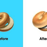Above Apple's new bagel emoji design is more textured and includes cream cheese. Image Apple  Emojipedia composite.