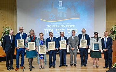 British Olim Linda Streit, (third from the left) and Major Keren Hajioff (second from right), are acknowledged for their contributions alongside six others . Credit:  Shahar Azran