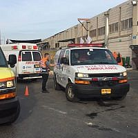 Scene of the terror attack at the Barkan industrial area