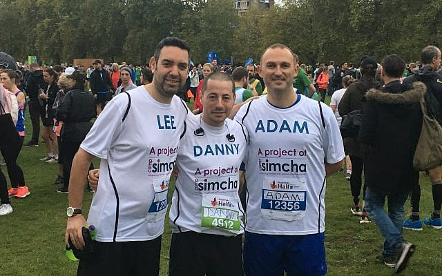 Lee Bladon, Danny Myers and Adam Dawson ran for Camp Simcha