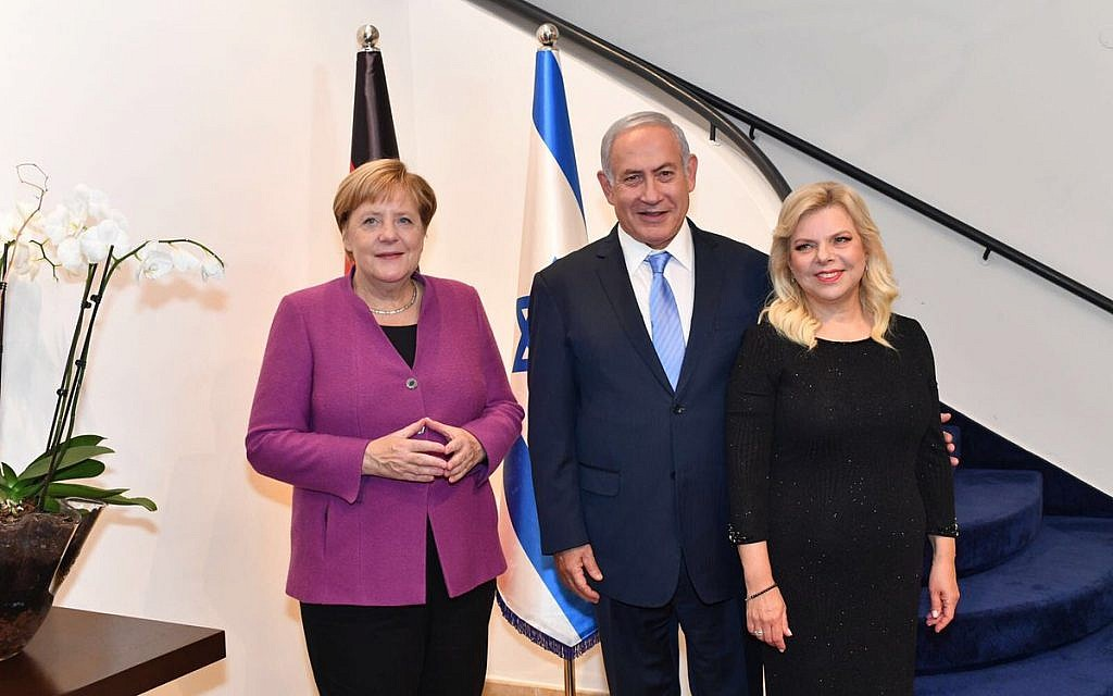 Benjamin Netanyahu and his wife Sara with Angela Merkel during her state visit to Israel. Credit: Israeli PM / Benjamin Netanyahu on Twitter.