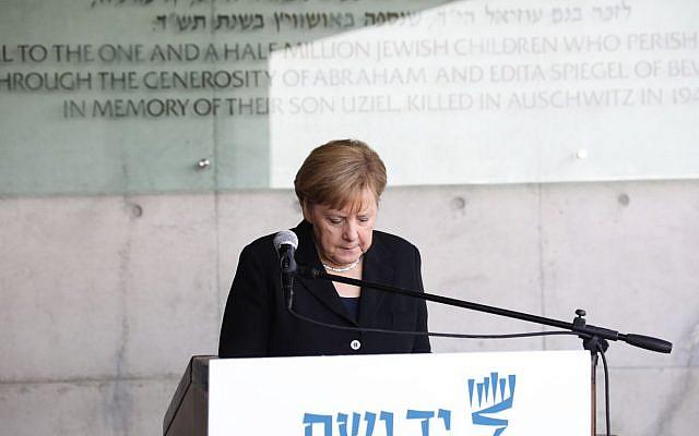 German Chancellor Angela Merkel during her state visit to Israel in 2018 touring Israel national Holocaust memorial museum, Yad Vashem. Credit: Yad Vashem on Twitter