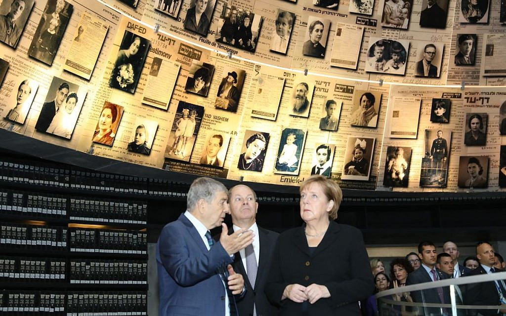 German Chancellor Angela Merkel during her state visit to Israel in 2018 touring Israel national Holocaust memorial museum, Had Vashem. Credit: Yad Vashem on Twitter