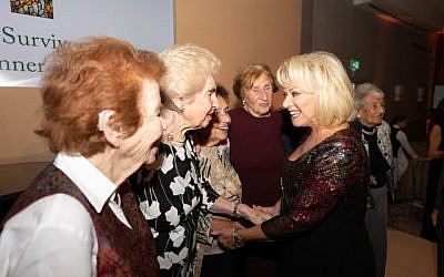 Elaine Paige meeting with Holocaust survivors during Jewish Care's event