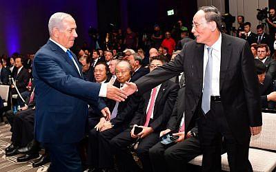 Benjamin Netanyahu with Chinese Vice President Wang Qishan