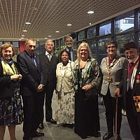 Local representatives at the event marking 50th anniversary of the twinning. L-R: Anita Alexander-Passe Director of UK Friends of the Rambam; Ronnie Barden Chair of London Mayors Association and Hackney Resident; Lt Col R Morriss Dep Lord Lt of Hackney representing HM The Queen;Ruth Boyce Sec of HAIFA Committee; with beard Martin Sugarman Chair of HAIFA Committee Twinnng; Sandra Stanton Vice Chair of HAIFA; Cllr Clare Potter Speaker of Hackney for the Borough; Cllr Salim Siddiqui supporter of the Twinning