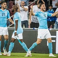 Tomer Hemed (right) celebrates opening the scoring against Albania. Picture Israel FA