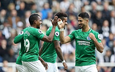 Beram Kayal (right) celebrates scoring the winning goal against Newcastle