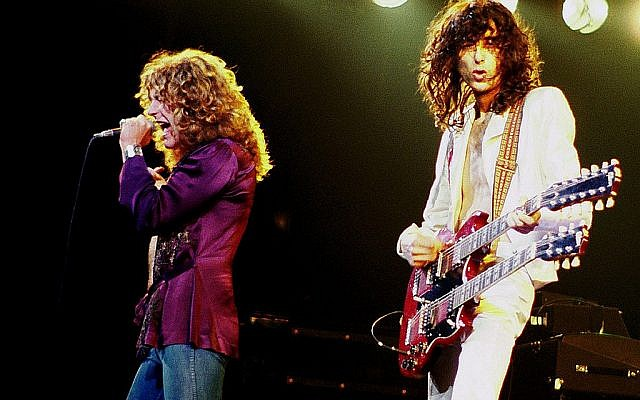 Led Zeppelin's Jimmy Page and Robert Plant performing