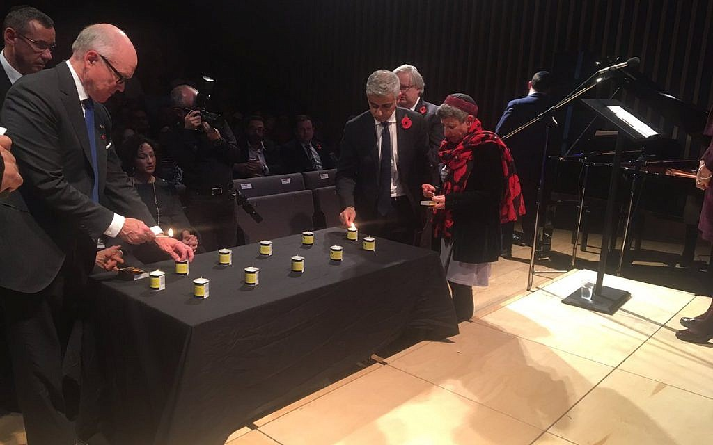 9b1e1d034a00c Sadiq Khan joins the American envoy to London in lighting 11 memorial  candles at JW3