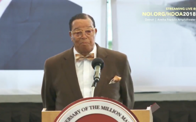 Louis Farrakhan giving his controversial speech
