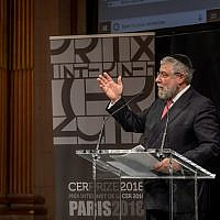 Rabbi Pinchas Goldschmidt speaking at a Conference of European Rabbis event. Credit: Eli Itkin.