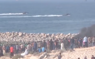 Screenshot from youtube video of Gaza protesters on the beach