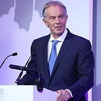 Tony Blair speaking at the HET annual dinner
