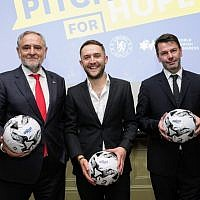 WJC CEO and Executive Vice President Robert Singer, Pitch for Hope UK winner Nick Spooner, and Head of the Chelsea Foundation Simon Taylor. Picture: Gary Perlmutter / World Jewish Congress