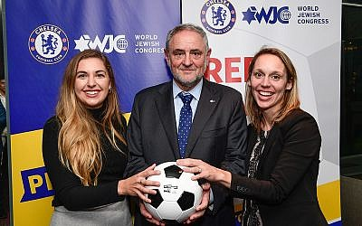 WJC CEO and Executive Vice President Robert Singer, center, with Seren Fryatt (right) and Alyssa Chassman (left), winners of the NY Pitch for Hope competition. (credit: Shahar Azran)