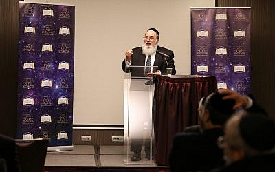 Dayan Israel Jacob Lichtenstein speaking at the Rabbinical Council of Europe gathering in Vienna.
