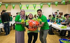 Laura Marks, founder of Mitzvah Day, at East London Mosque taking part in a mass chicken soup making for Mitzvah Day 2018!