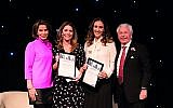Ali Durban and Sarah Sultman (centre) recognised for their work setting up Gesher school, alongside  the Lord Levy and Natasha Kaplinsky. Credit: Blake Ezra Photography  .