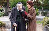 Dr. Legg is horrified to see the vandalism on his parents' grave. (C) BBC - Photographer: Kieron McCarron