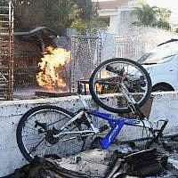 The scene where a bakery was hit by a rocket fired from the Gaza Strip in the southern Israeli city of Ashkelon, on November 13, 2018. Photo by: JINIPIX
