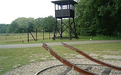 A monument at former Nazi transition-camp Westerbork, located in the Netherlands, showing mangled train tracks which brought inmates to the camp