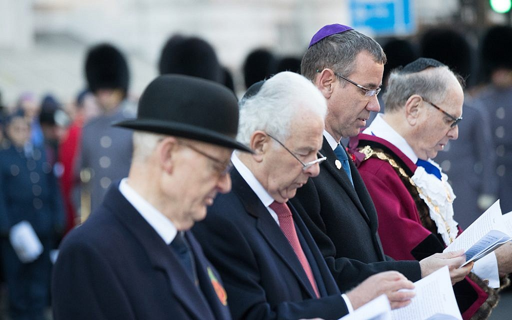 Centre: The Lord Levy and right: Mark Regev, at the AJEX parade 2018. Credit: Marc Morris Photography