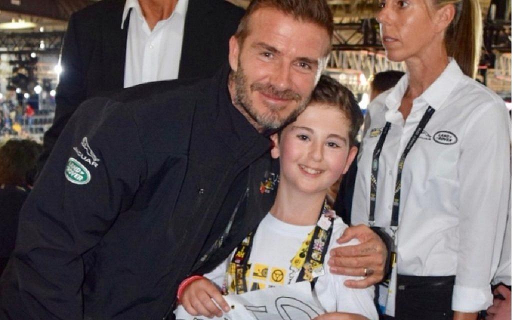 Rio Woolf, pictured with David Beckham